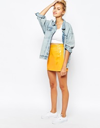 American Apparel High Rise Patent Mini Skirt Yellow