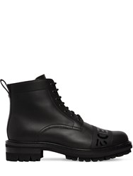 Dsquared Logo Printed Tape Leather Boots Black