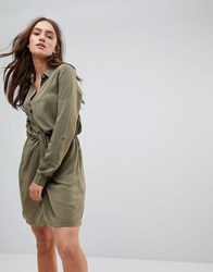 Pepe Jeans Twisted Knot Shirt Dress Dark Khaki Green