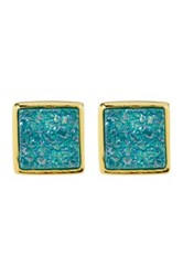 Sonya Renee Square Druzy Stud Earrings Blue