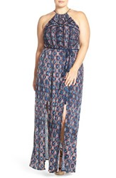 Plus Size Women's Lucky Brand Belted Print Halter Style Maxi Dress