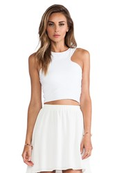 Donna Mizani Racer Front Crop Top White
