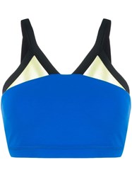 Perfect Moment Mesh Trimmed Sports Bra Blue