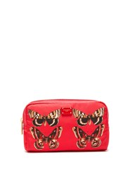 Dolce And Gabbana Butterfly Print Zip Around Cosmetics Bag Red Multi