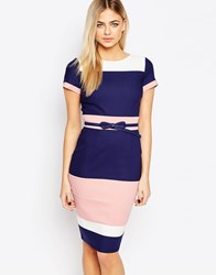 Paper Dolls Striped Color Block Pencil Dress With Belt Navy