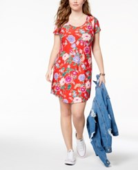 Planet Gold Trendy Plus Size Kylie Printed T Shirt Dress Rococo Red