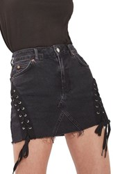 Topshop Women's Lace Up Denim Miniskirt