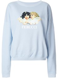 Fiorucci Logo Print Sweatshirt Cotton Blue