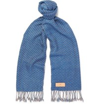 Il Bussetto Fringed Checked Woven Cotton Scarf Blue
