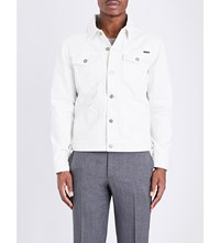 Tom Ford Buttoned Cuff Branded Denim Jacket White
