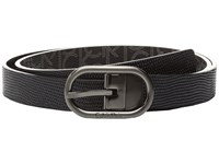 Calvin Klein 25Mm Reversible Embossed Lizard To Logo Pvc Belt Black Black Logo Women's Belts