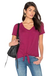 Splendid Codette Mini Variegated Rib Stripe Tied Waist Tee Red