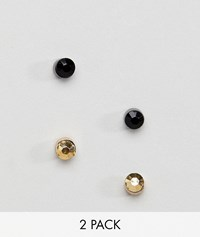 Burton Menswear Dark Crystal Stud Earrings In Gold And Black 2 Pack Multi