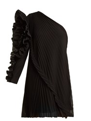 Givenchy One Shoulder Pleated Silk Georgette Dress Black