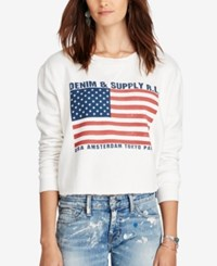Denim And Supply Ralph Lauren Cropped Fleece Sweatshirt Graphic Multi