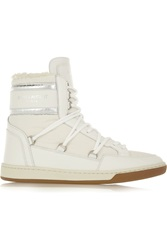 Saint Laurent Shearling Lined Leather And Shell High Top Sneakers