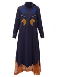 Toga Tie Neck Embroidered Midi Dress Navy