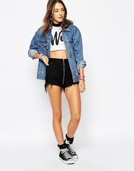 Your Eyes Lie High Waisted Denim Shorts With Zip Front Black