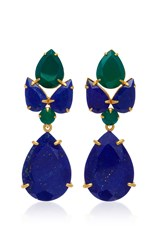Bounkit 14K Gold Plated Brass Lapis And Green Onyx Earrings Blue