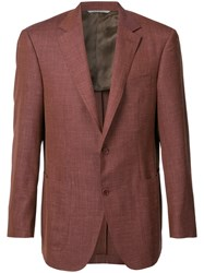 Canali Two Button Blazer Men Silk Linen Flax Wool 58 Red
