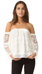 Liv Mantilla Off Shoulder Top White