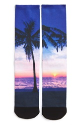 The Rail Palm Print Socks Blue