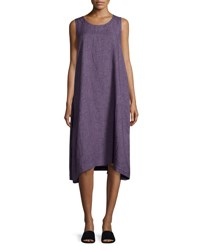 Eskandar Pleated Sleeveless Linen Dress Light Purple