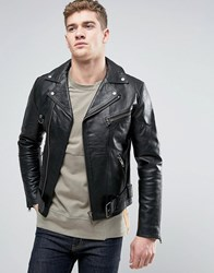 Nudie Jeans Ziggy Leather Biker Jacket Black