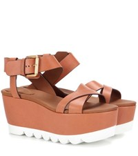 See By Chloe Platform Leather Sandals Brown