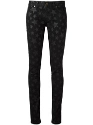 Saint Laurent Star Print Skinny Jeans Black