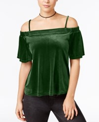 One Clothing Juniors' Velvet Off The Shoulder Top Olive