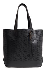 Frye Carson Perforated Logo Leather Tote Black