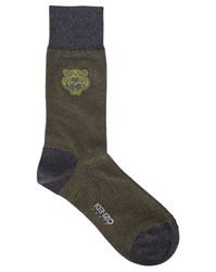 Kenzo Dark Grey With Yellow Tiger Logo Socks