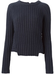 Marc By Marc Jacobs Ribbed Crew Neck Sweater Blue