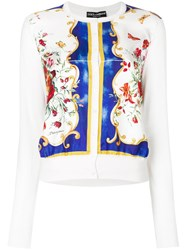 Dolce And Gabbana Floral Print Cardigan Women Silk 40 White