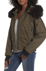 French Connection Women's Faux Fur Trim Wax Cotton Bomber Jacket Turtle