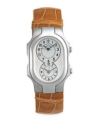 Philip Stein Teslar Rectangular Mother Of Pearl Alligator Band Watch Sand
