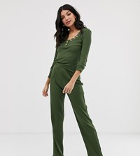 Asos Design Tall Mix And Match Lounge Ribbed Trouser Green