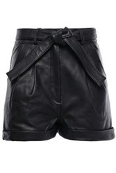 Maje Woman Belted Leather Shorts Black