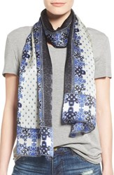 Vince Camuto Women's Floral Silk Scarf Marine Blue
