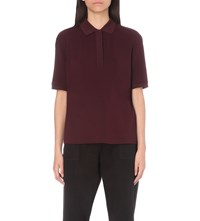 The Kooples Pleated Jersey Polo Shirt Burgundy