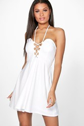 Boohoo Strappy Front And Neck Skater Dress Ivory