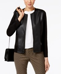 Alfani Petite Mixed Media Moto Jacket Only At Macy's Deep Black