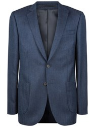 Jaeger Wool Herringbone Modern Jacket Navy