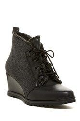 Ellen Tracy El Torino Faux Fur Wedge Bootie Gray