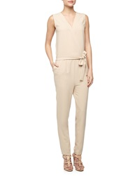Romeo And Juliet Couture Surplice Tie Front Crepe Jumpsuit Beige