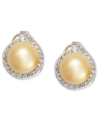 Macy's Pearl Earrings 14K Gold Golden South Sea Pearl 11Mm And Diamond 3 4 Ct. T.W. Stud Earrings