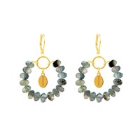 Salome Tribal Collection Rutilated Quartz Earrings Gold Gold Green
