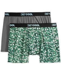 32 Degrees Cool By Weatherproof Boxer Briefs 2 Pack Grey Camo Charcoal