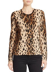 Lord And Taylor Petite Cheetah Print Cardigan Honey Heather